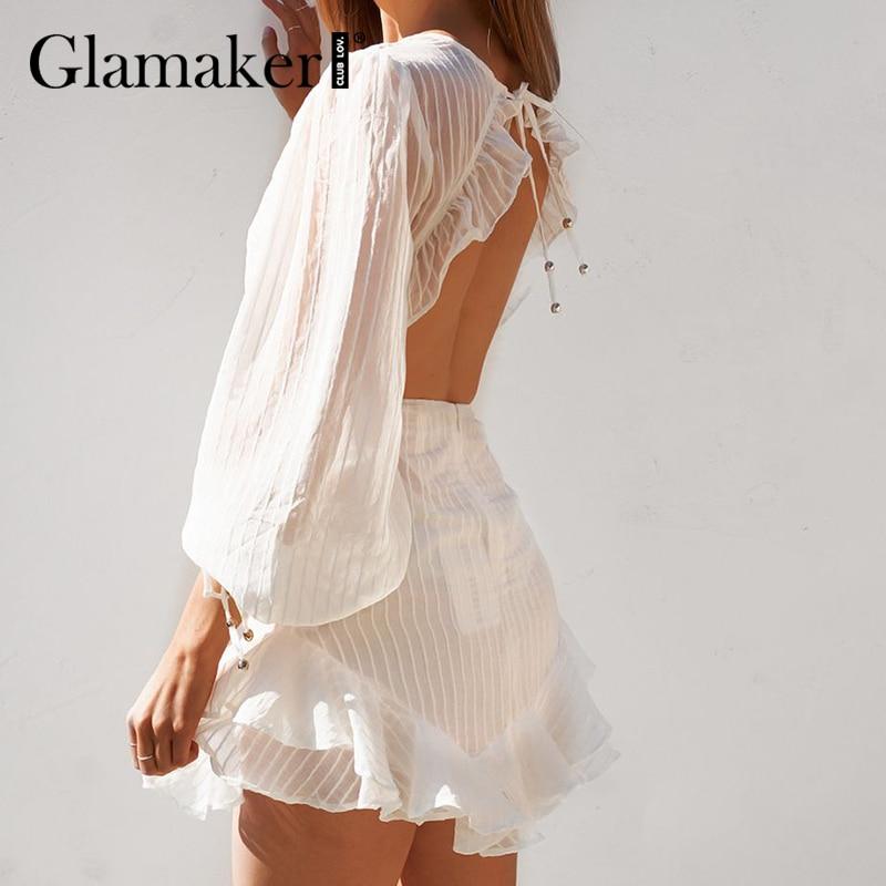 Glamaker فستان أبيض قصير مثير بدون ظهر صيفي وخريفي مكشكش على شكل حرف a فستان عطلة شاطئ بأربطة للنساء أنيق أنيق