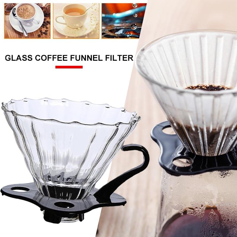 Con Base de filtro de café de goteo de café, embudo de café, barra de cristal, herramienta de cocina, viajes, restaurante reutilizable, cafetera