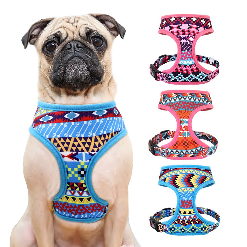 Cute Printed Mesh Nylon Dog Harness Puppy Cat Harness Vest For Small Medium Dogs Cats French Bulldog Pug Chihuahua Pet Products