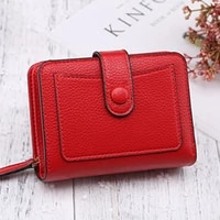 red mini lychee pattern pu leather womens wallets fashion female trending multifunctional solid color purses