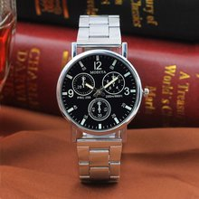 Three-eye Steel Belt Fashion Casual Luxury Analog Quartz Watch Mens Watch with High Precision Gift P