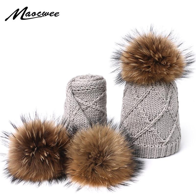 Real Fur Pompom Hats Scarf Set For Children Raccoon Fur Pompom Hat Scarf Set Girls Boys Knitted Beanies Hat Cap Brand Scarves