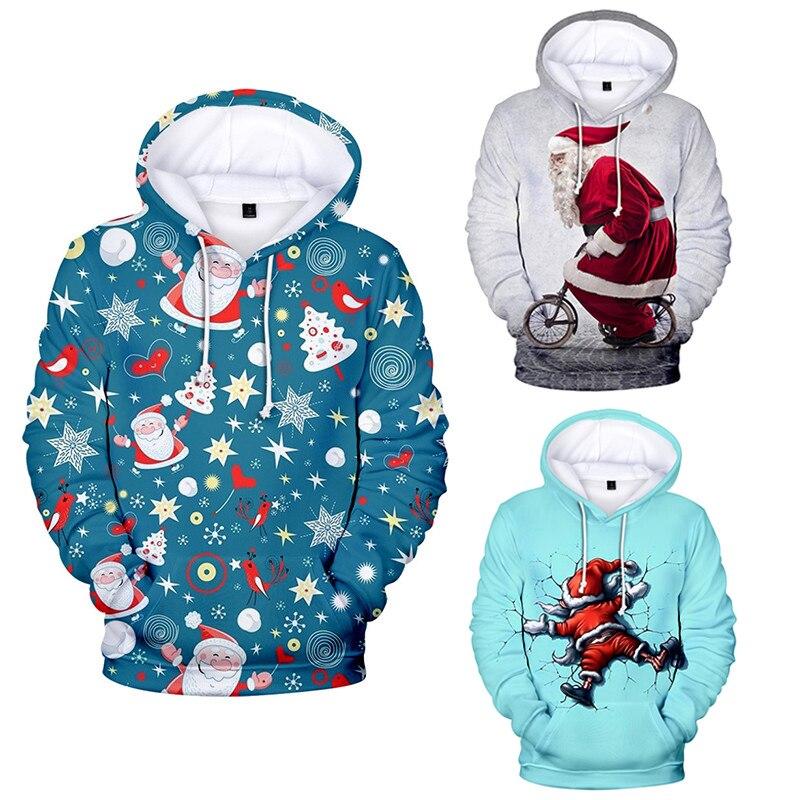 Unisex hombres mujeres Santa Claus Navidad novedad suéter de Navidad feos muñeco de nieve de Navidad impresión 3D suéter con capucha suéter caliente