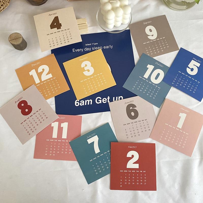 2021 цветная цифровая календарь открытка 12 листов простой стиль офис обучение настольный фон открытка Новогодний подарок фото реквизит