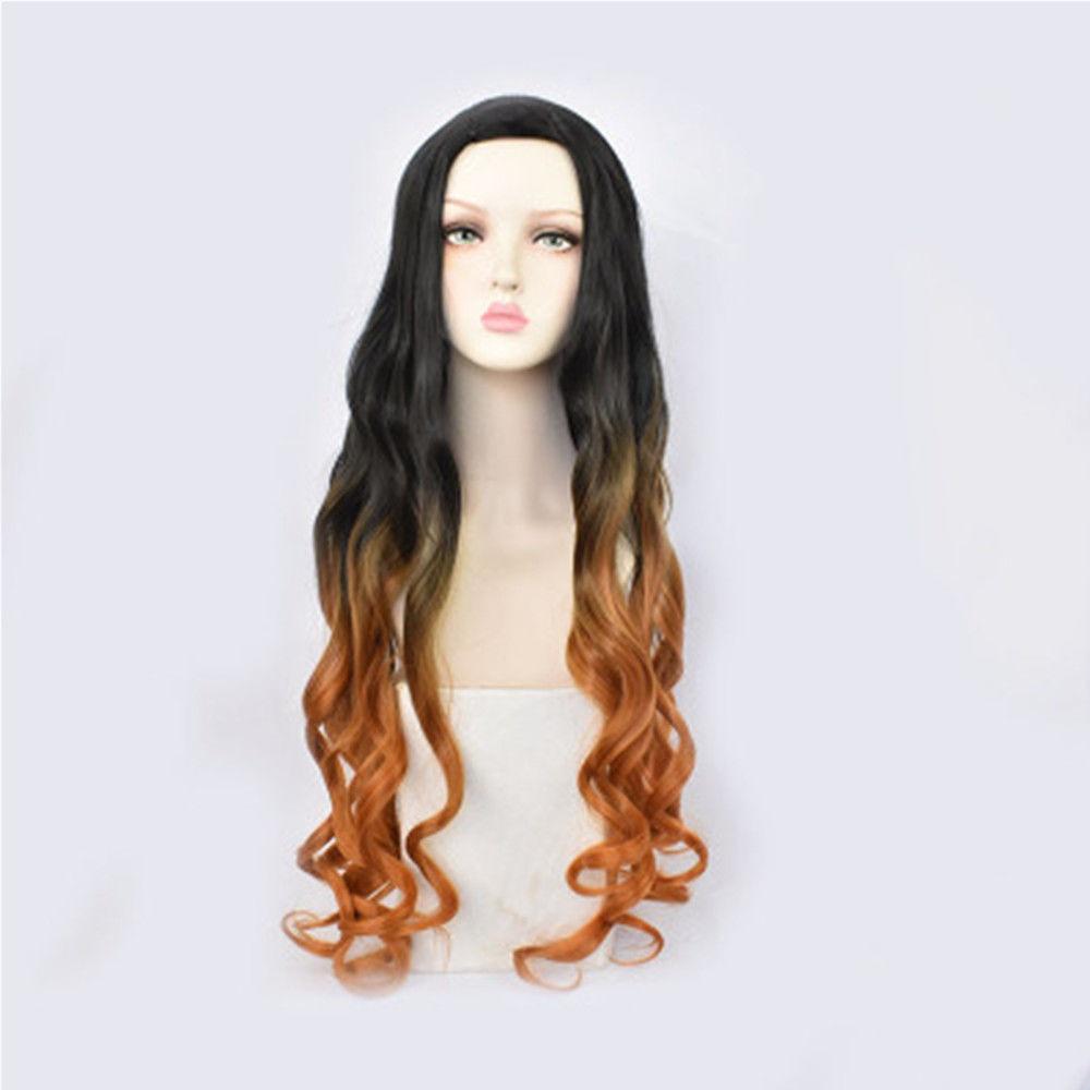 anime Demon Slayer: Kimetsu no Yaiba Kamado Nezuko cos hair long black with orange cosplay Synthetic