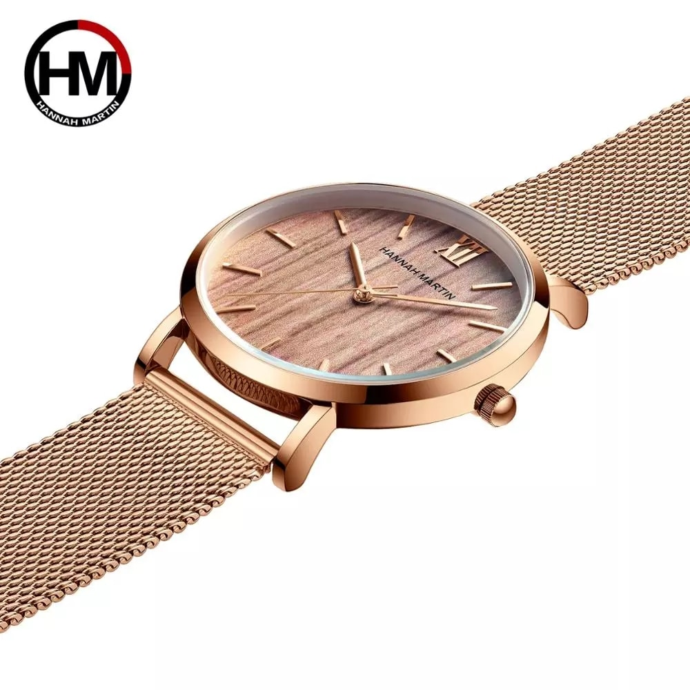 A++++ Quality Steel Japan Quartz Movement Hannah Martin Waterproof Women Full Rose Gold Ladies Luxury Wrist Watch Drop shipping enlarge