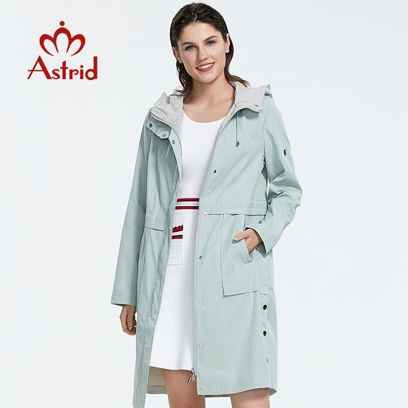 Astrid 2019 new arrival plus size mid-length style trench coat for women with a hood spring-autumn l