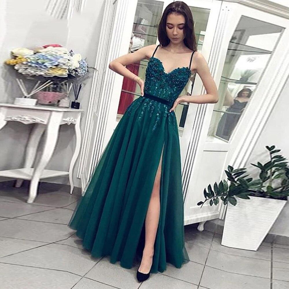 فستان نسائي طويل للحفلات من BEPEITHY, فستان نسائي طويل ، بحمالات رفيعة ، باللون الأخضر ، بتصميم على شكل حرف a ، مصنوع من التل باللون الأخضر ، مناسب ...