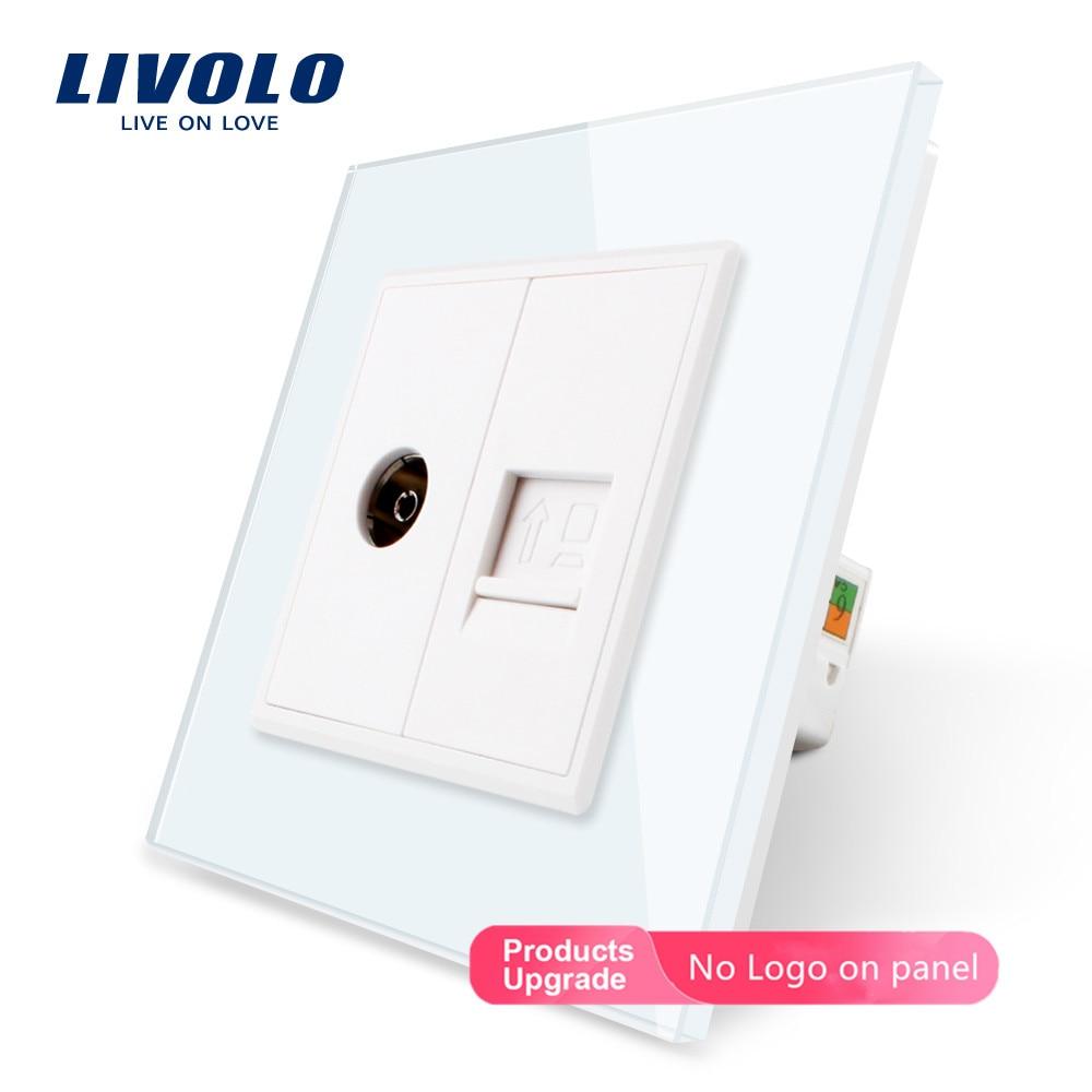Livolo, 7 צבעים קריסטל זכוכית פנל, 2 כנופיות קיר מחשב ושקע טלוויזיה, c791VC-11/12/13/15, ללא תקע מתאם, אין לוגו