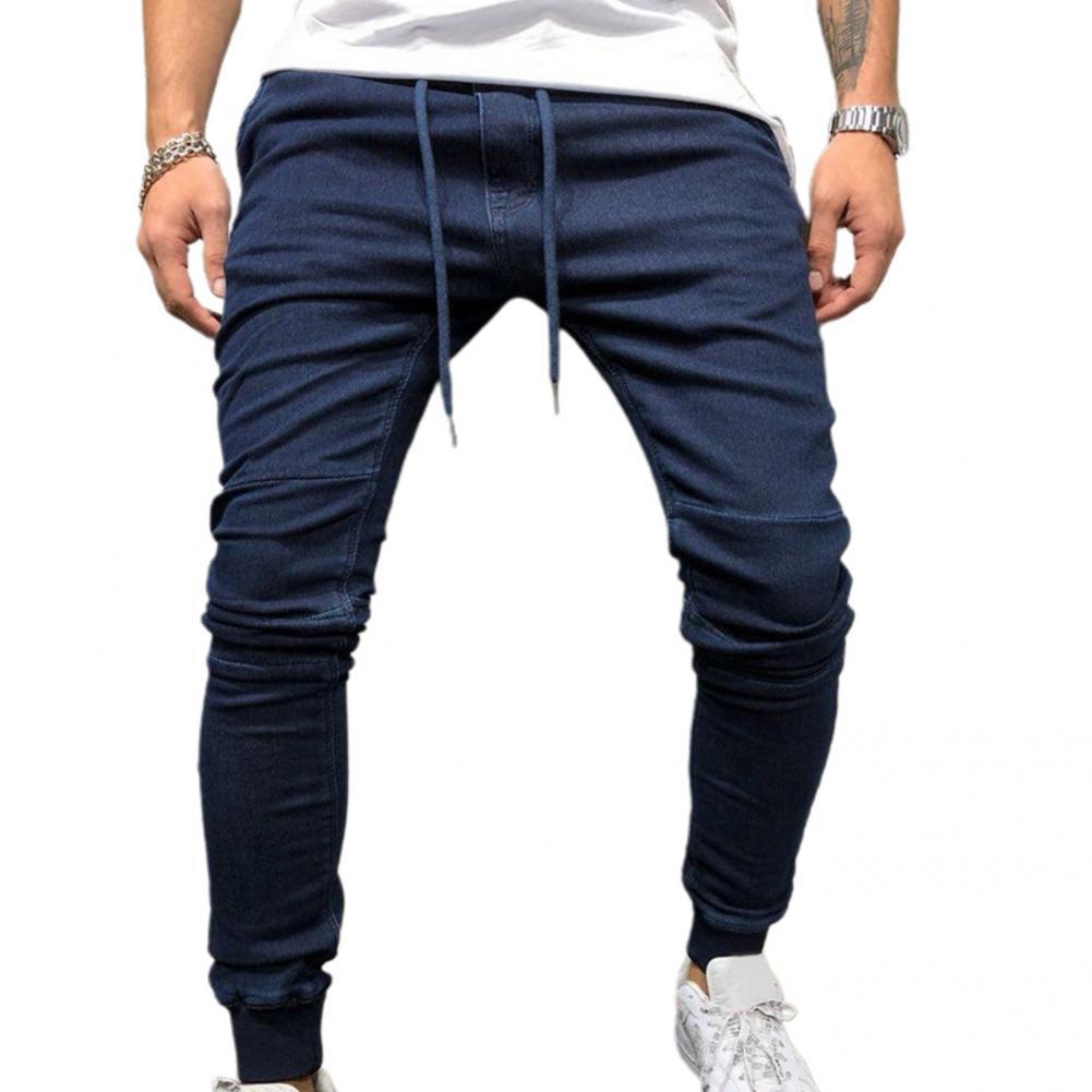 Дышащие классические мужские джинсы-карандаш со средней талией, джинсовые мужские джинсы скинни для офиса