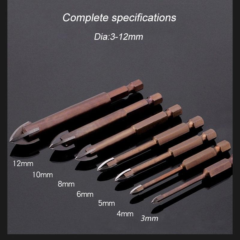 タングステンカーバイドガラスドリルビット、4つの刃先を備えた合金カーバイドポイント、タイルとガラスのクロススピアヘッドドリルビット