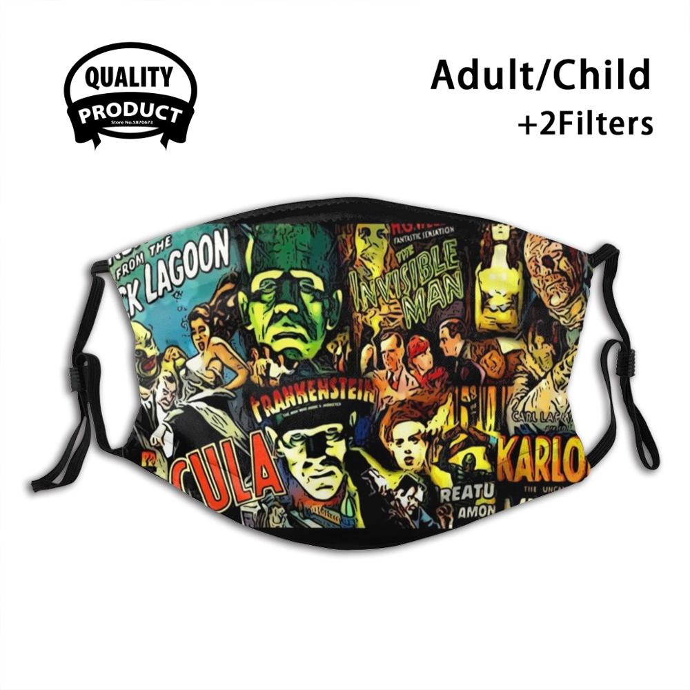 Horror Cult Universal Monsters Movies Face Mask Fashion Funny Design Black Reusable Masks Horror Scary Cult Movie Social