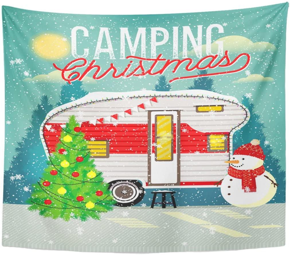 Tapestry Camp Christmas Vintage Travel Trailer in Winter Forest Camper Tapestries Wall Hanging for Living Room Bedroom Dorm