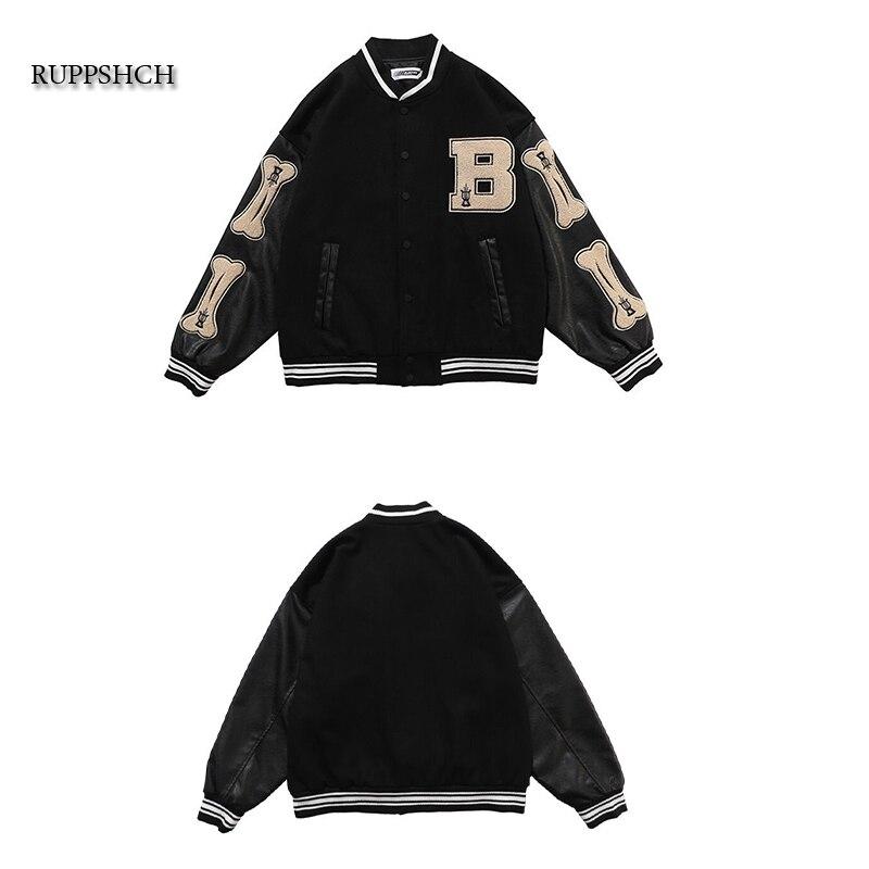 Ruppshch Hip Hop Street Oversized Unisex Patchwork Color Block Jacket Men Harajuku Streetwear Bomber