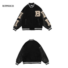 Ruppshch Hip Hop Street Oversized Unisex Patchwork Color Block Jacket Men Harajuku Streetwear Bomber