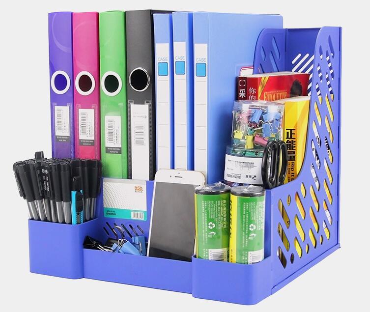 Actualizado 4 capas PP Classic Plastic File Tray Paper holder Office Desk documentos organizador Paper Box azul negro sin montar