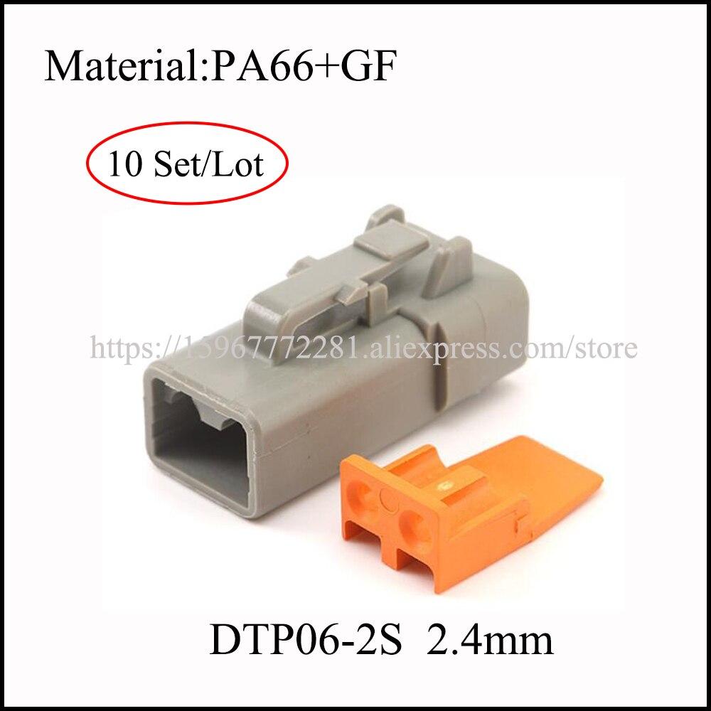 10 комплектов, разъем для кабеля, 2,4 мм, PA66 + GF, серый, новинка, энергетический разъем для автомобиля, Клемма, автомобильная розетка, 2-контактны...