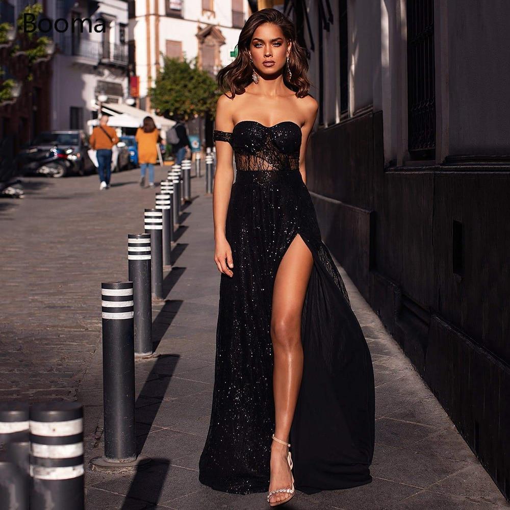 Блестящие черные длинные вечерние платья Booma, вечерние платья с высоким разрезом и открытой спиной, трапециевидные официальные платья для в...