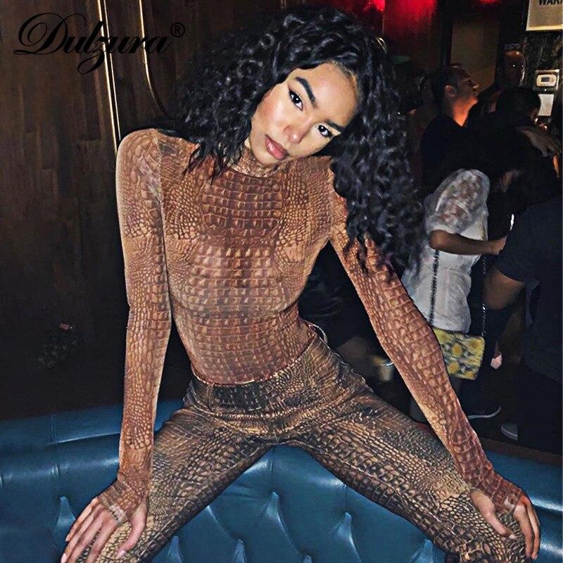 Dulce 2019 Otoño Invierno mujeres bodycon estampado de cocodrilo sexy bodycon streetwear festival ropa streetwear body romper básico