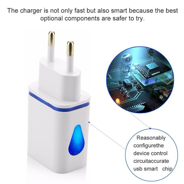 Phone Fast Wall Charging Universal 2.1A 5V LED 2 USB Charger Adapter US/EU Plug USB Charger For iPhone For Samsung For HTC 6