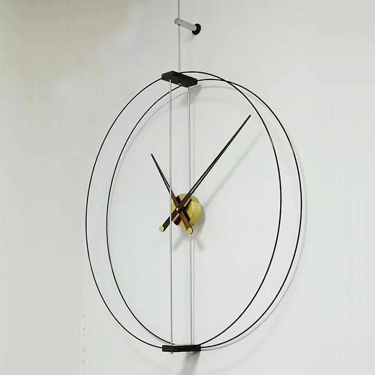 Nogal sólido grande puntero Reloj de pared doble círculo Polo moderno nórdico creativo español reloj colgante de pared