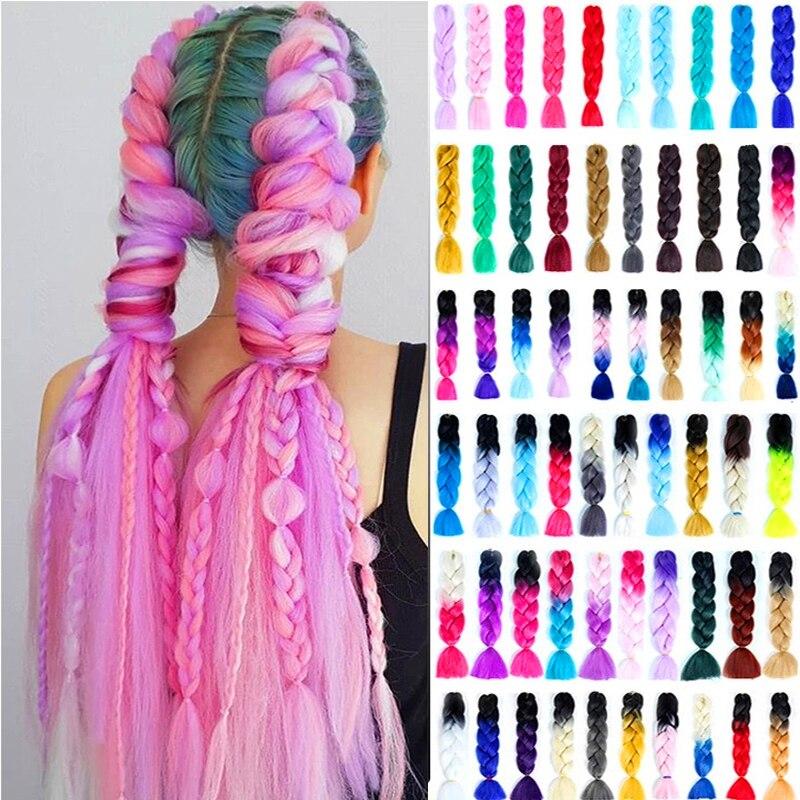 24 Kanekalon Jumbo Braiding Hair Extensions Long Ombre Synthetic Braid Pink Blue Grey Xpression Crochet Braids Rastas