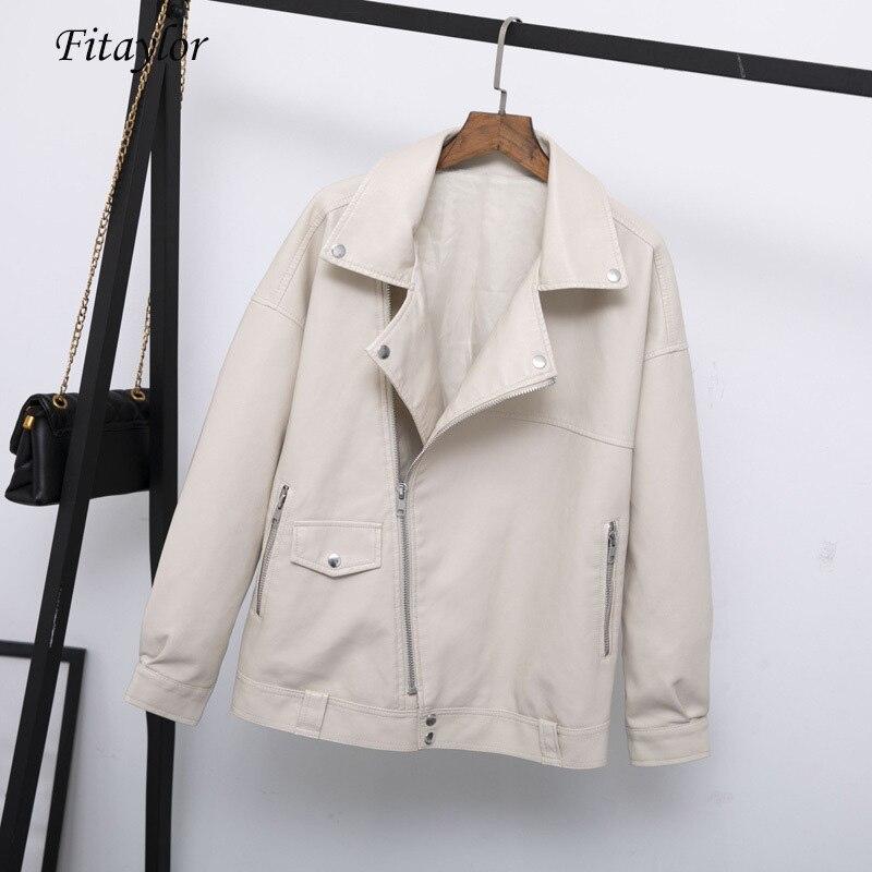 Fitaylor-معطف جلد صناعي نسائي للخريف ، غير رسمي ، فضفاض ، ناعم ، لركوب الدراجات النارية ، بانك ، ملابس خارجية مع سحاب