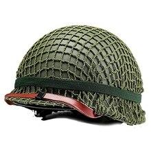 Durevole Heavy Duty Casco US Army Tactical Casco SECONDA GUERRA MONDIALE Acciaio M1 In Acciaio Verde Casco Replica con finta Netto/Tela chin Strap