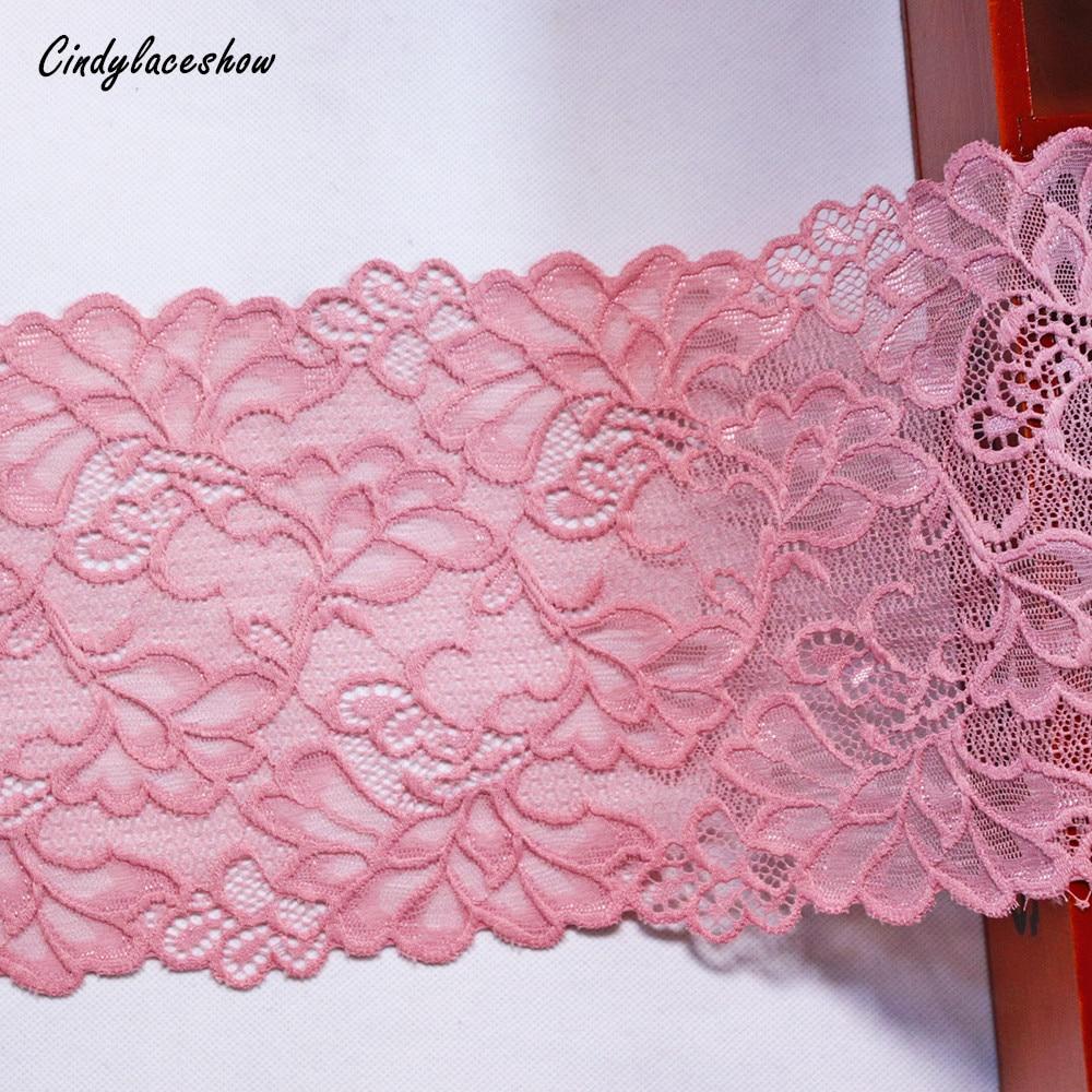 2 yardas 17,5 cm de ancho rosa oscuro Stretch cinta para ajuste, Cordón de hojas de encaje elástico telas Bra ropa interior ligas de encaje materiales de costura