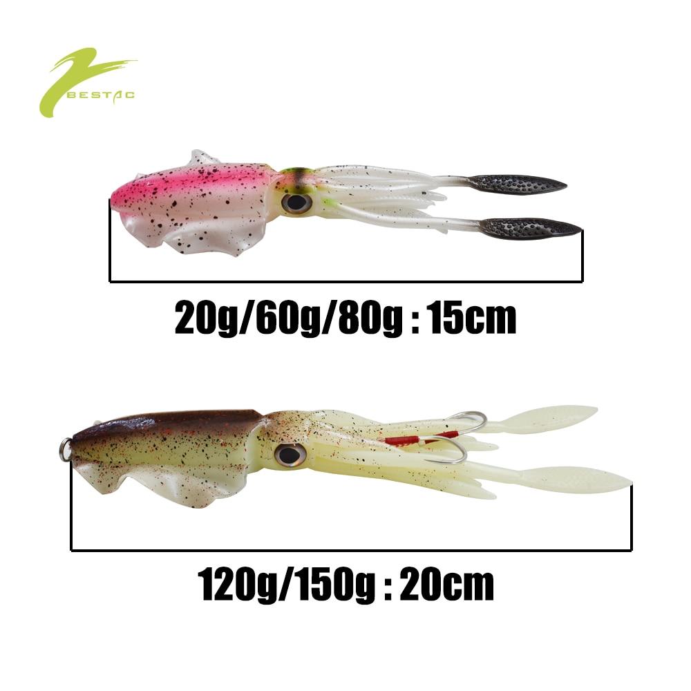 BESTAC Fishing Soft Squid Lure Deep Sea Bait 20/60/80/120/150g Jig Hook UV Luminous Octopus Wobbler Accessories enlarge