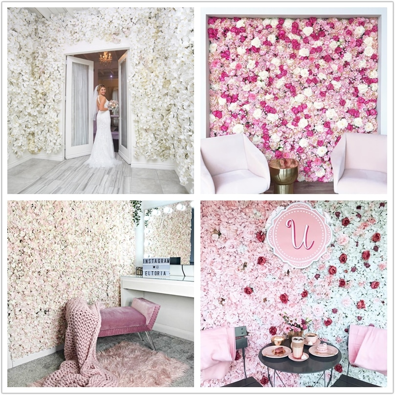 40x60cm Silk Rose Flower Wall Artificial Flowers DIY Wedding Wall Decor Photography Backdrops Baby Shower Hair Salon Background