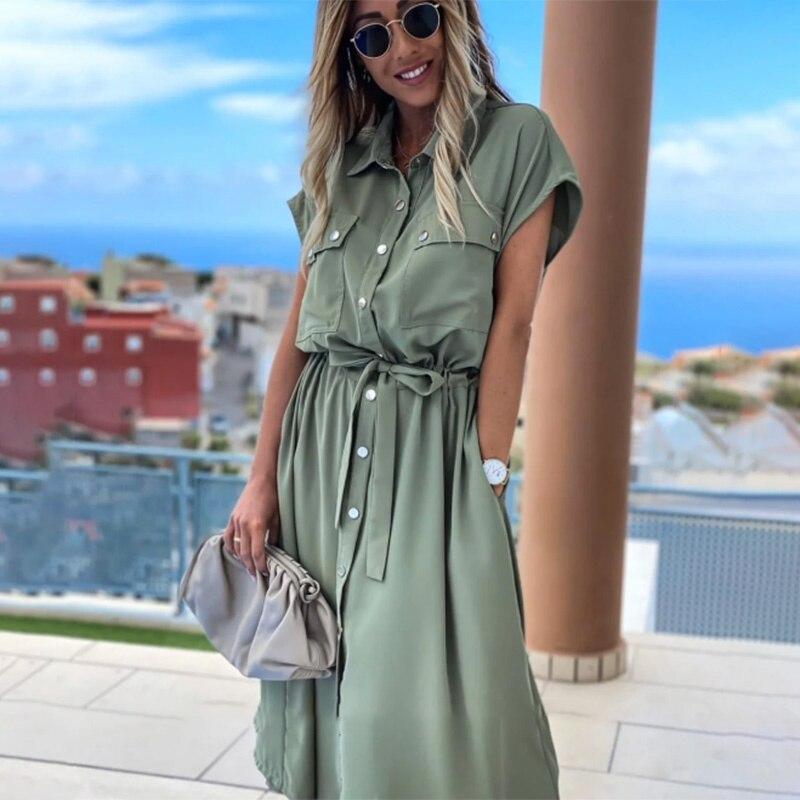 فستان نسائي عتيق بزر أمامي متوسط الوشاح الصلبة برقبة على شكل حرف v وأكمام قصيرة حزام للخروجات اليومية الخصر فستان صيفي للسيدات