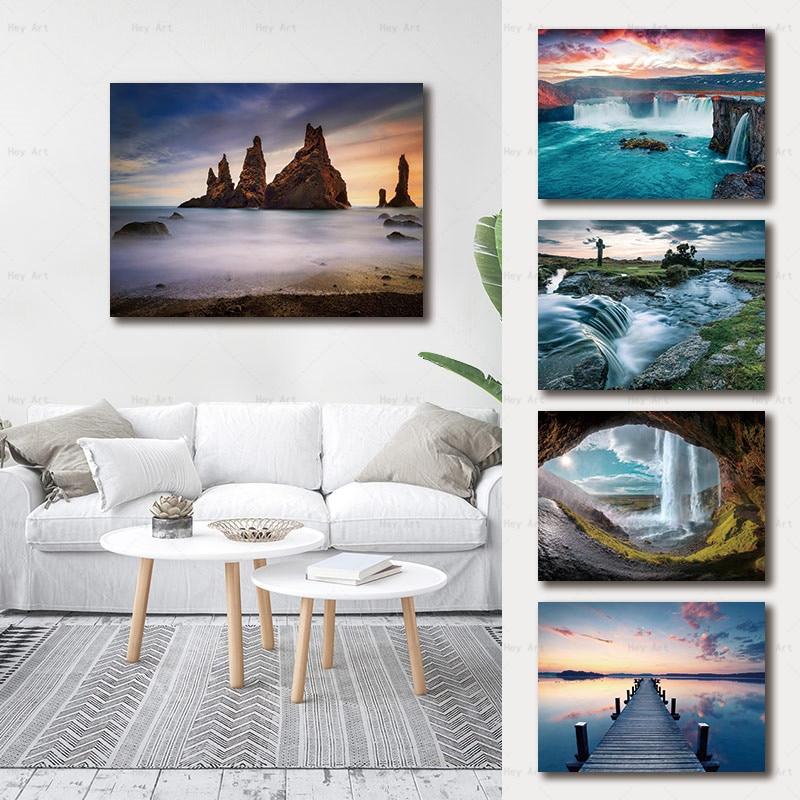 Arte da parede paisagem montanha lago cachoeira ponte nórdico cartazes e impressões fotos sala de estar decoração casa pintura da lona
