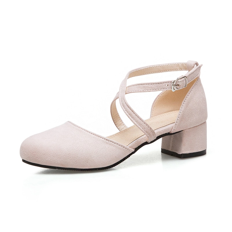 Купить с кэшбэком Lolita shoes summer apricot thick with 4cm sandals cross straps Baotou comfortable women's shoes student fairy sweet