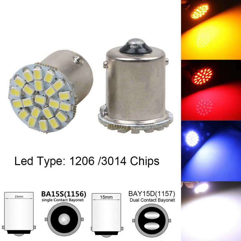 1PC Car Styling 1156 1157 P21/5W BAY15D 22 SMD 3014 1206 LED Car Auto DRL Tail Side Indicator Lamp Brake Signal Lights COB Bulb