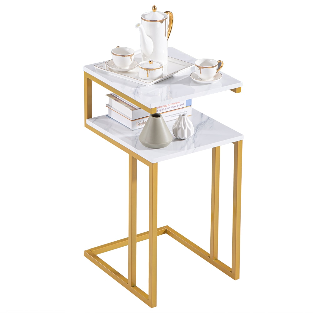 【US Warehouse】(42 x 35.5 x 71)cm C-Type Side Table Double-Layer Gold Marble Sticker