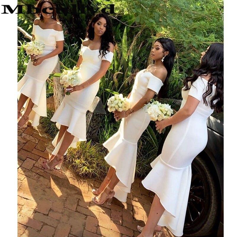 Mbcullyd vestidos de dama de honor sirena blanco 2020 Sexy Hi-Low vestido de invitados de boda africana de manga corta bata Demoiselle Dhonneur