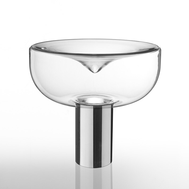 De mesa de cristal claro creativo de remolino... chapado en oro gris ahumado de dormitorio de escritorio LED E27