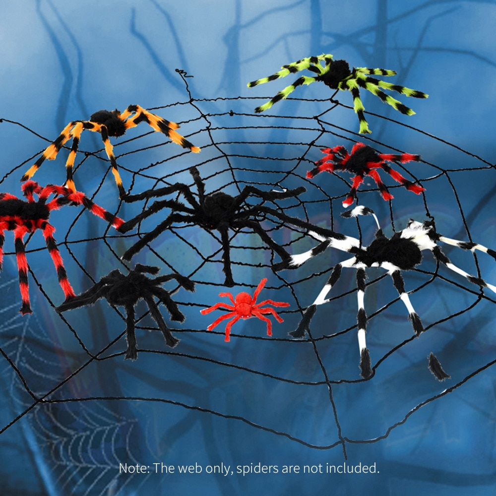 Nueva tela de araña negra gigante de 3,5 m / 138in de diámetro, decoración de Halloween, casa embrujada terrorífica, tela de araña para interiores al aire libre