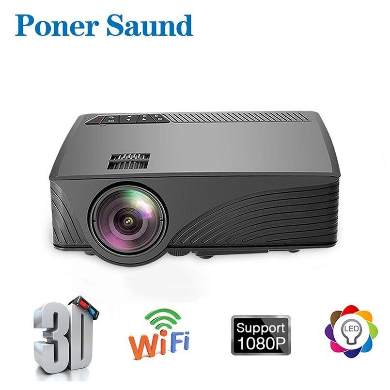 Poner-miniproyector portátil Saund GP12, WiFi, Android 6,0, cine en casa, vídeo de...