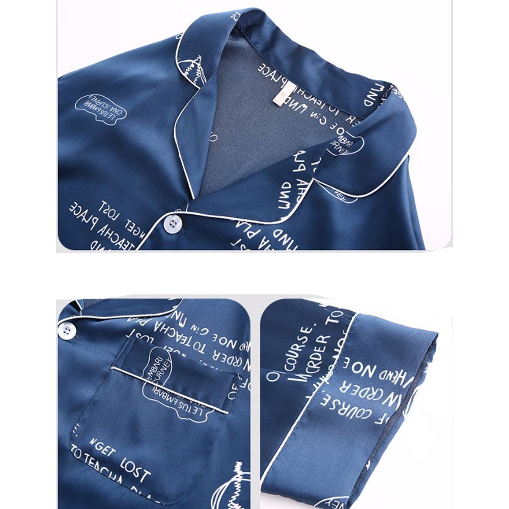 Ночь пижама для мужчин атлас пижама комплект шелк AСпальный костюм осень весна домашняя одежда одежда набивной лонж брюки ночная рубашка XXXL XXL