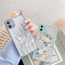 Relief Flower Leaf  Clear Phone Case For iPhone 12 Mini 12 11 Pro Max XR X XS Max 7 8 6 Plus Case So