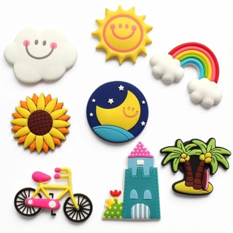 Imanes magnéticos de Chocolate de dibujos animados, calcomanía para refrigerador con mensaje de arcoíris y sol divertido para niños, juguete educativo de Recuerdo DIY