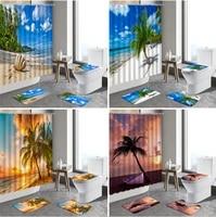 4pcst set ocean scenery shower curtains beach palm tree sunset sea landscape anti slip rugs toilet bath mat bathroom set carpet