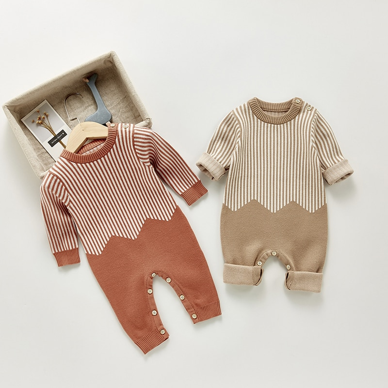 Spring Autumn NewBorn Baby Knitted Woolen Rompers Striped Baby Jumpsuit Long-sleeved Baby Boys Girls Clothes Pajamas