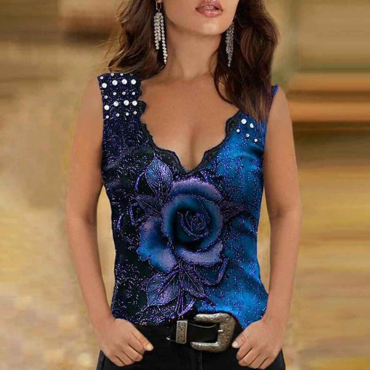Camiseta sin mangas informal con estampado Floral para Mujer, Tops Multicolor con estampado de rosas en 3D, camiseta sin mangas Sexy, Camisetas sin mangas para Mujer
