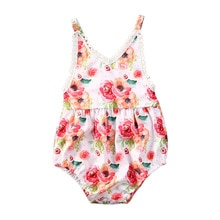 Summer Lovely Toddler Baby Girls 0-24M Bodysuits Sleeveless Flowers Print Tassel Jumpsuits Clothes
