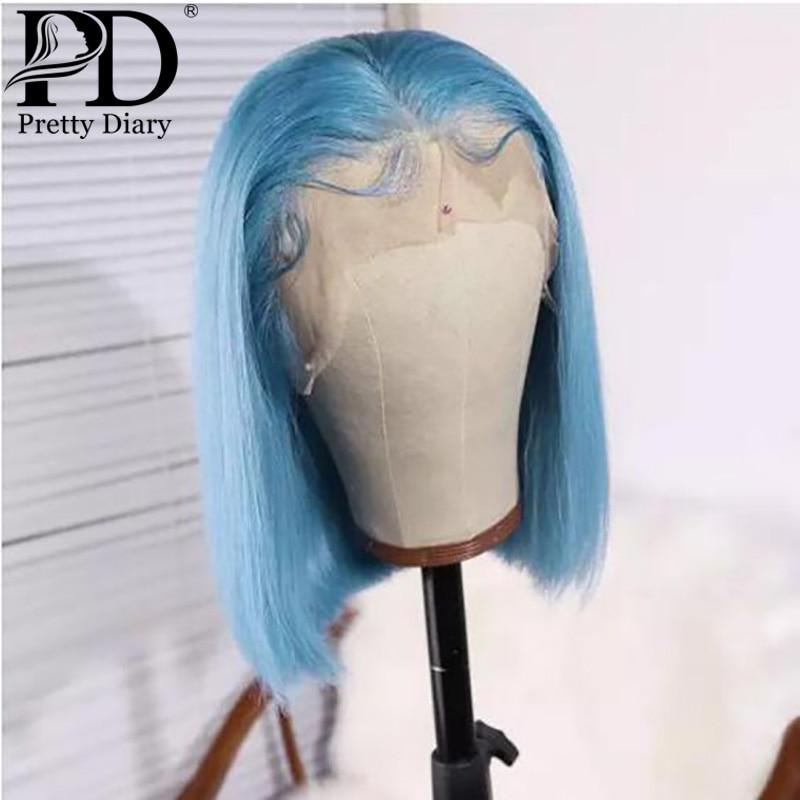 Peluca Frontal de encaje azul claro, Remy brasileño destacado, peluca con malla Frontal prearrancada, pelo de bebé corto, pelo humano con corte Bob, pelucas negras para mujeres