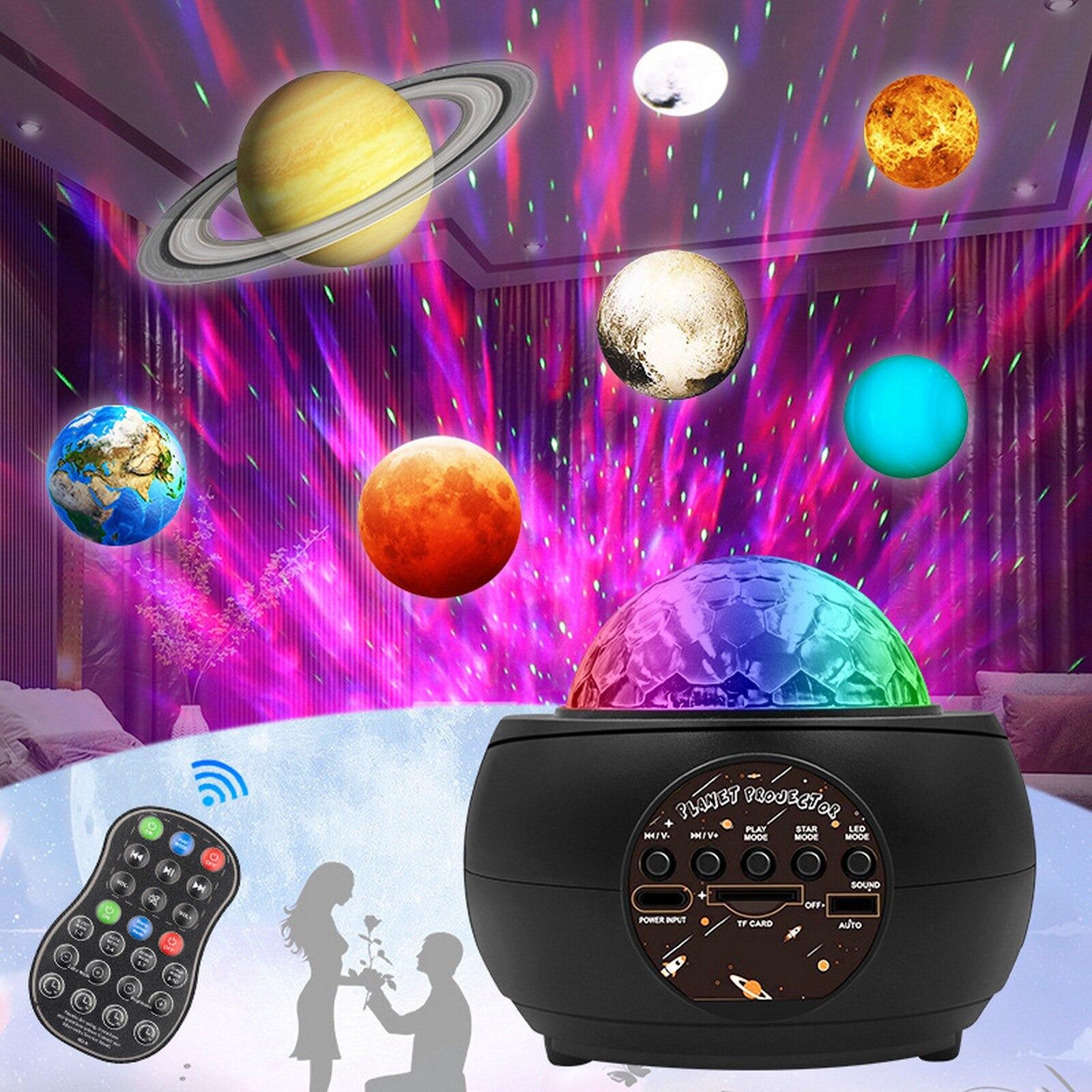 LED غالاكسي النجوم ضوء العارض كوكب المحيط موجة ليلة ضوء كوة بلوتوث مشغل موسيقى لغرفة النوم الديكور الاطفال هدية