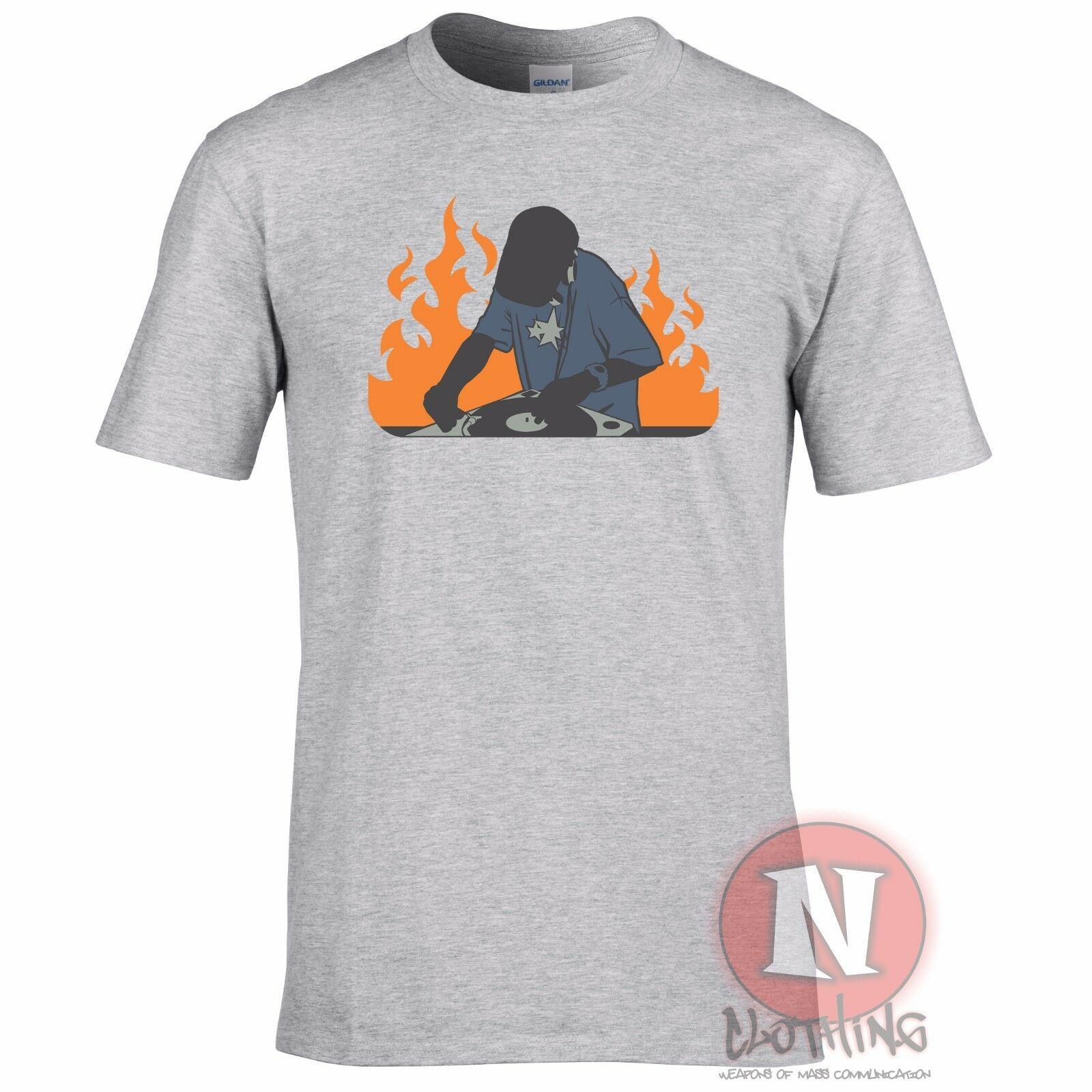 DJ On Fire Tshirt Turntable Rave Clubbing Deejay Ibiza Old School Style T Shirt Men Women Tee Shirt Fashion Large Big Size